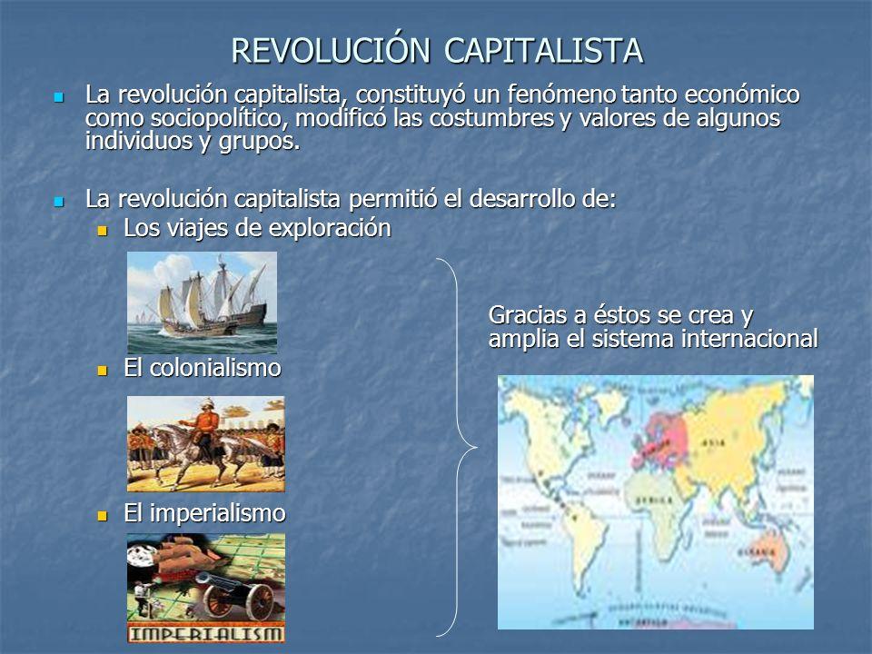 REVOLUCIÓN CAPITALISTA La revolución capitalista, constituyó un fenómeno tanto económico como sociopolítico, modificó las costumbres y valores de algu