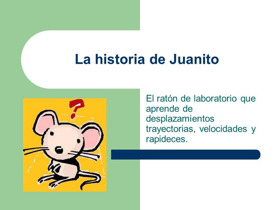La historia de Juanito El ratón de laboratorio que aprende de desplazamientos trayectorias, velocidades y rapideces.
