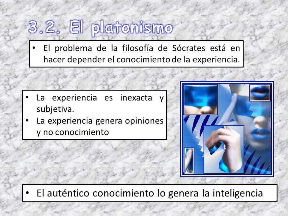 El problema de la filosofía de Sócrates está en hacer depender el conocimiento de la experiencia. La experiencia es inexacta y subjetiva. La experienc