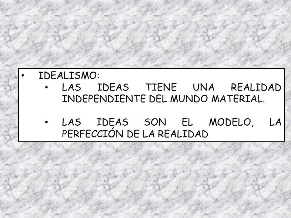 IDEALISMO: LAS IDEAS TIENE UNA REALIDAD INDEPENDIENTE DEL MUNDO MATERIAL. LAS IDEAS SON EL MODELO, LA PERFECCIÓN DE LA REALIDAD