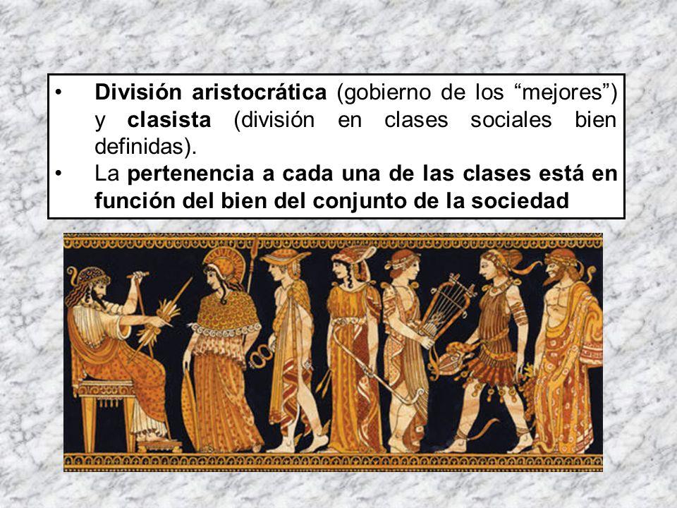 División aristocrática (gobierno de los mejores) y clasista (división en clases sociales bien definidas). La pertenencia a cada una de las clases está