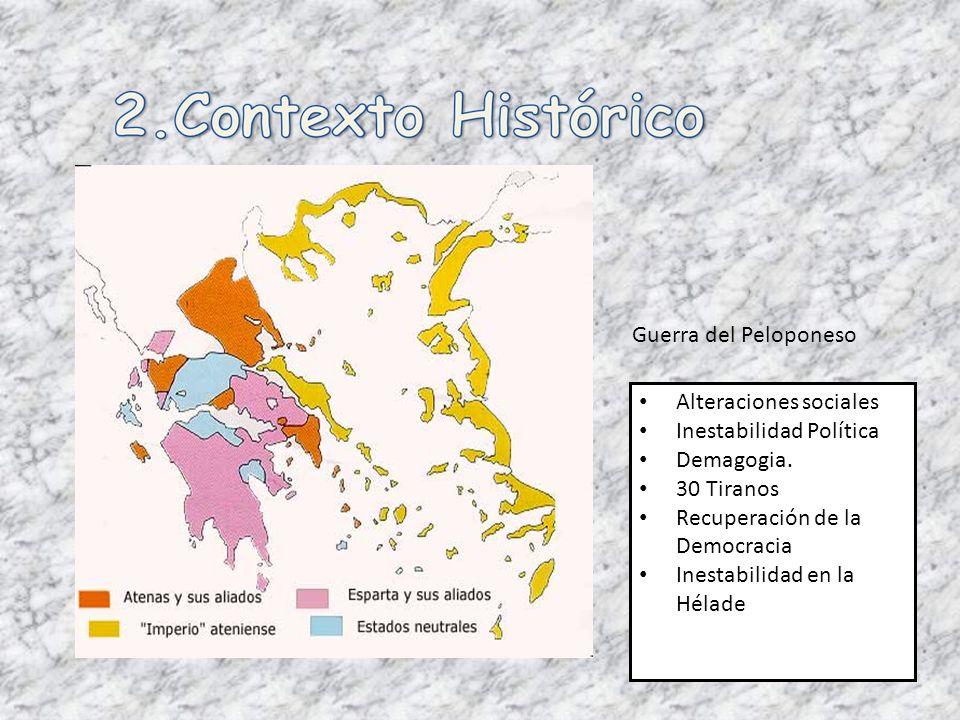 Guerra del Peloponeso Alteraciones sociales Inestabilidad Política Demagogia. 30 Tiranos Recuperación de la Democracia Inestabilidad en la Hélade