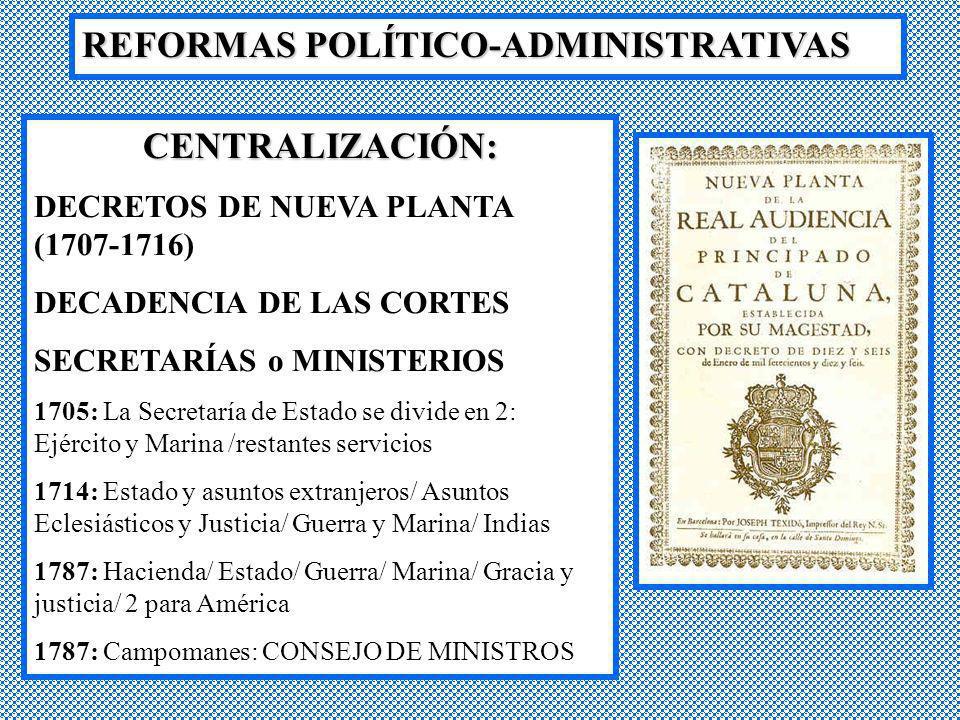 REFORMAS POLÍTICO-ADMINISTRATIVAS CENTRALIZACIÓN: DECRETOS DE NUEVA PLANTA (1707-1716) DECADENCIA DE LAS CORTES SECRETARÍAS o MINISTERIOS 1705: La Sec