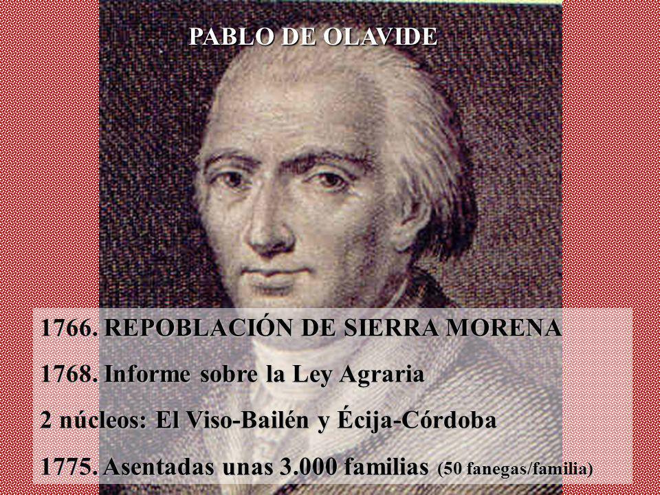 1766. REPOBLACIÓN DE SIERRA MORENA 1768. Informe sobre la Ley Agraria 2 núcleos: El Viso-Bailén y Écija-Córdoba 1775. Asentadas unas 3.000 familias (5