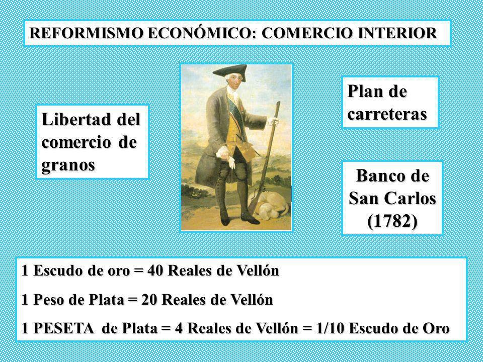 REFORMISMO ECONÓMICO: COMERCIO INTERIOR Libertad del comercio de granos Plan de carreteras Banco de San Carlos (1782) 1 Escudo de oro = 40 Reales de V