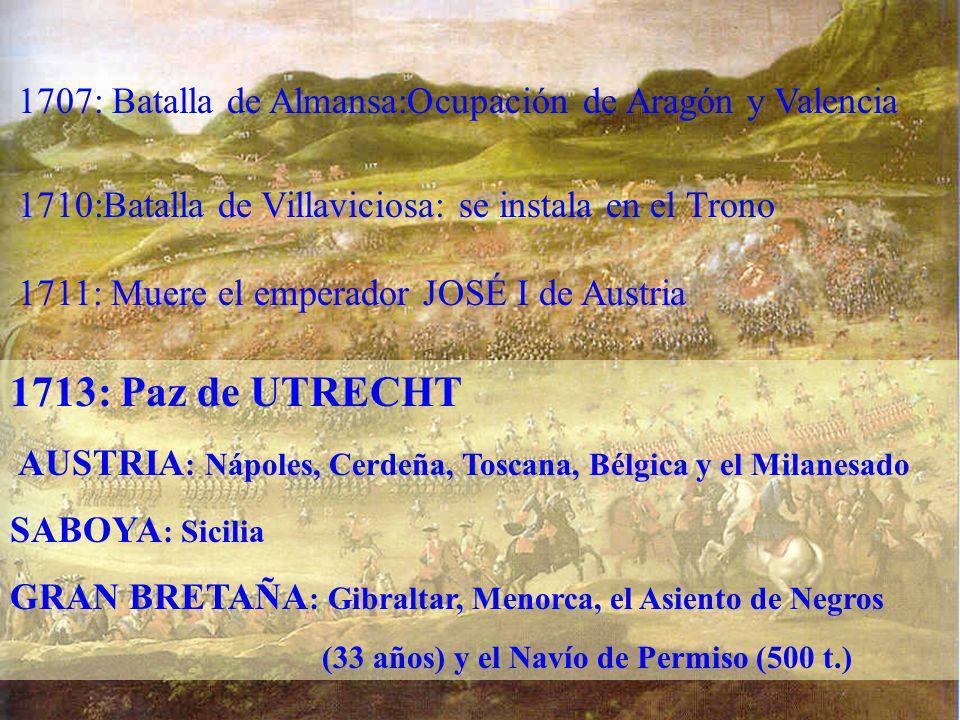 1707: Batalla de Almansa:Ocupación de Aragón y Valencia 1710:Batalla de Villaviciosa: se instala en el Trono 1711: Muere el emperador JOSÉ I de Austri