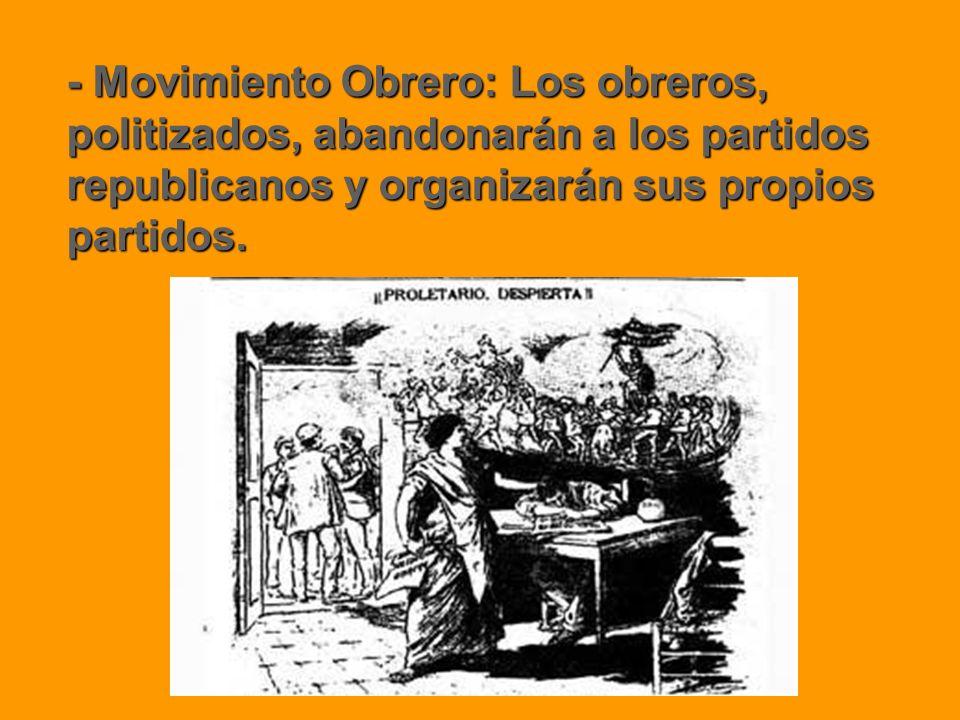 - Movimiento Obrero: Los obreros, politizados, abandonarán a los partidos republicanos y organizarán sus propios partidos.