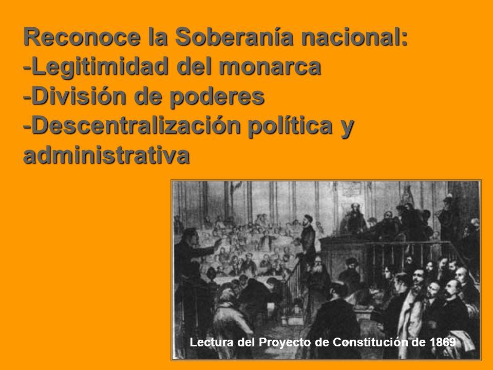 Reconoce la Soberanía nacional: -Legitimidad del monarca -División de poderes -Descentralización política y administrativa Lectura del Proyecto de Con