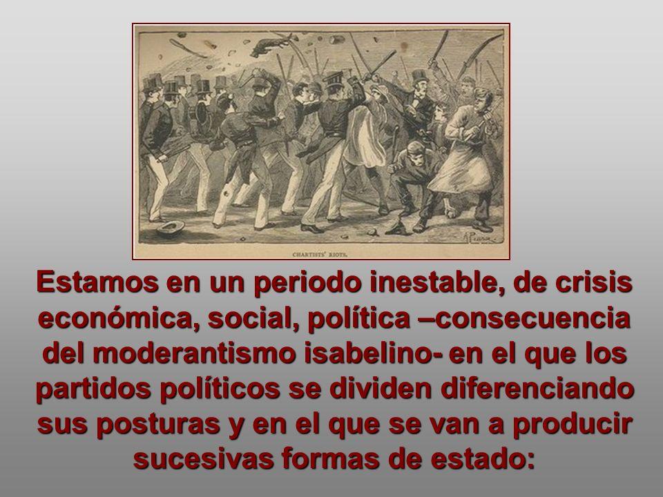 Estamos en un periodo inestable, de crisis económica, social, política –consecuencia del moderantismo isabelino- en el que los partidos políticos se d