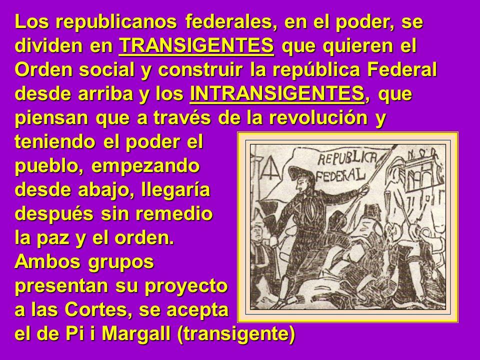 Los republicanos federales, en el poder, se dividen en TRANSIGENTES que quieren el Orden social y construir la república Federal desde arriba y los IN