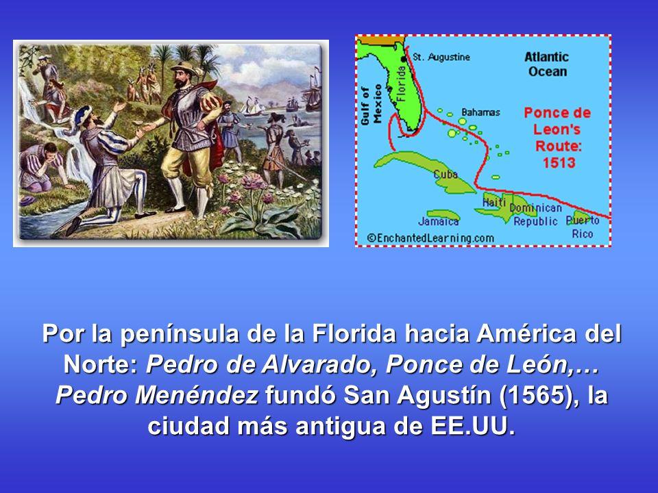 Por la península de la Florida hacia América del Norte: Pedro de Alvarado, Ponce de León,… Pedro Menéndez fundó San Agustín (1565), la ciudad más anti