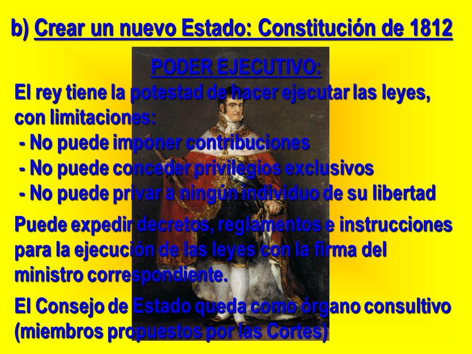 PODER EJECUTIVO: El rey tiene la potestad de hacer ejecutar las leyes, con limitaciones: - No puede imponer contribuciones - No puede imponer contribu