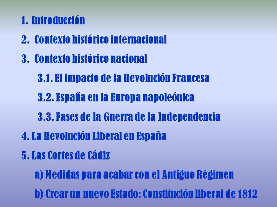 1. 1.Introducción 2. 2. Contexto histórico internacional 3. 3. Contexto histórico nacional 3.1. El impacto de la Revolución Francesa 3.2. España en la