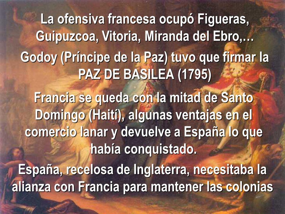 La ofensiva francesa ocupó Figueras, Guipuzcoa, Vitoria, Miranda del Ebro,… Godoy (Príncipe de la Paz) tuvo que firmar la PAZ DE BASILEA (1795) Franci