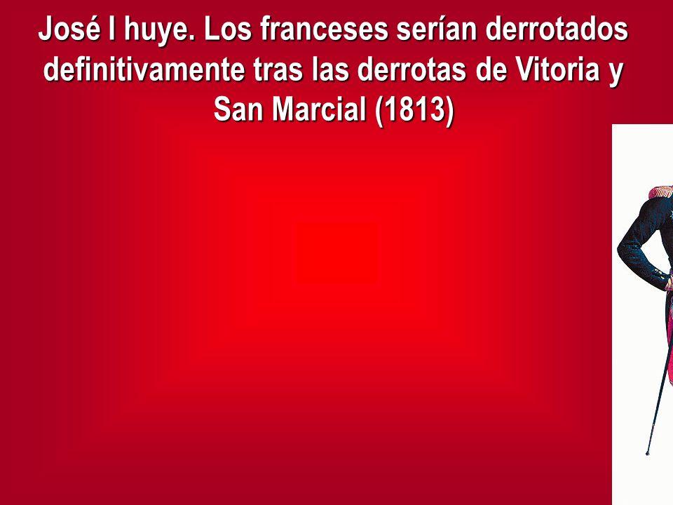 José I huye. Los franceses serían derrotados definitivamente tras las derrotas de Vitoria y San Marcial (1813)