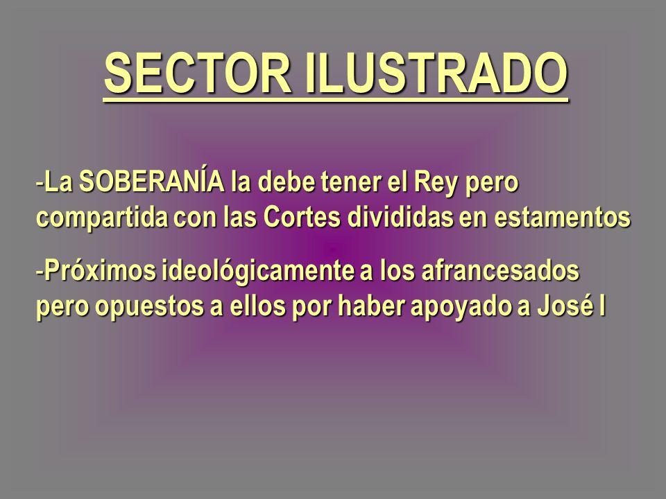 SECTOR ILUSTRADO - La SOBERANÍA la debe tener el Rey pero compartida con las Cortes divididas en estamentos - Próximos ideológicamente a los afrancesa