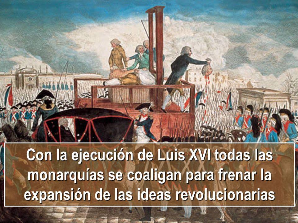 Con la ejecución de Luis XVI todas las monarquías se coaligan para frenar la expansión de las ideas revolucionarias