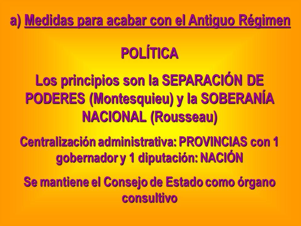 a) Medidas para acabar con el Antiguo Régimen POLÍTICA Los principios son la SEPARACIÓN DE PODERES (Montesquieu) y la SOBERANÍA NACIONAL (Rousseau) Ce