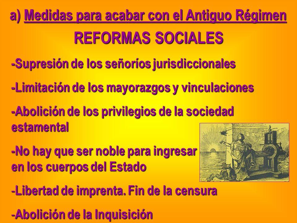 a) Medidas para acabar con el Antiguo Régimen REFORMAS SOCIALES -Supresión de los señoríos jurisdiccionales -Limitación de los mayorazgos y vinculacio