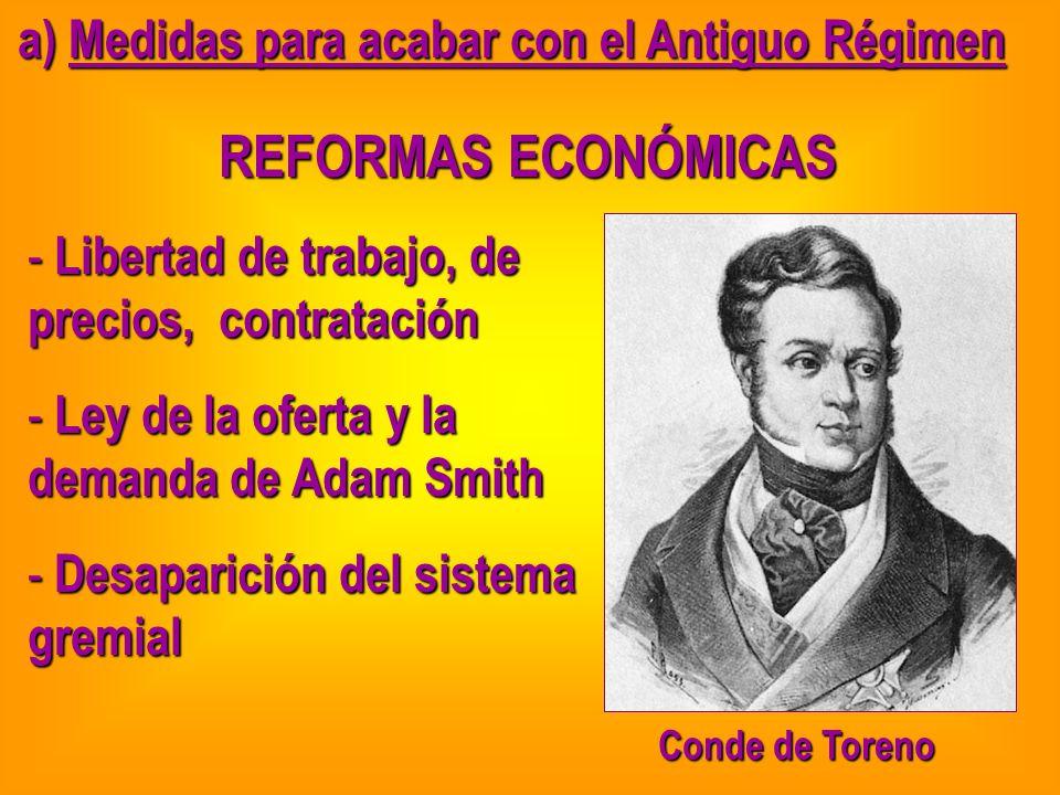 a) Medidas para acabar con el Antiguo Régimen REFORMAS ECONÓMICAS - Libertad de trabajo, de precios, contratación - Ley de la oferta y la demanda de A