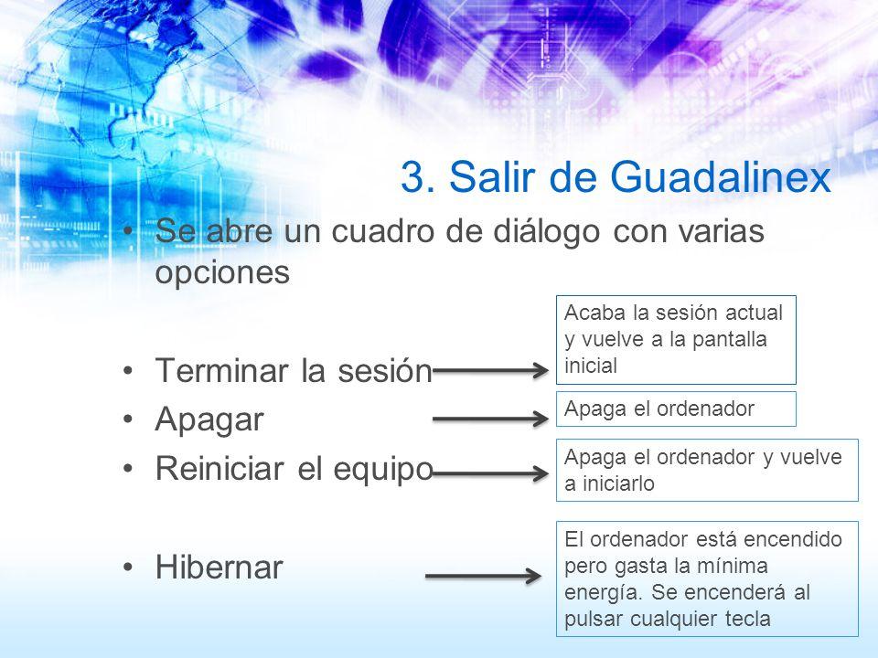 3. Salir de Guadalinex Se abre un cuadro de diálogo con varias opciones Terminar la sesión Apagar Reiniciar el equipo Hibernar Acaba la sesión actual