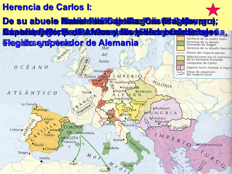 Herencia de Carlos I: De su abuelo Maximiliano de Austria (Habsburgo): Austria, Principados alemanes y el derecho a ser elegido emperador de Alemania