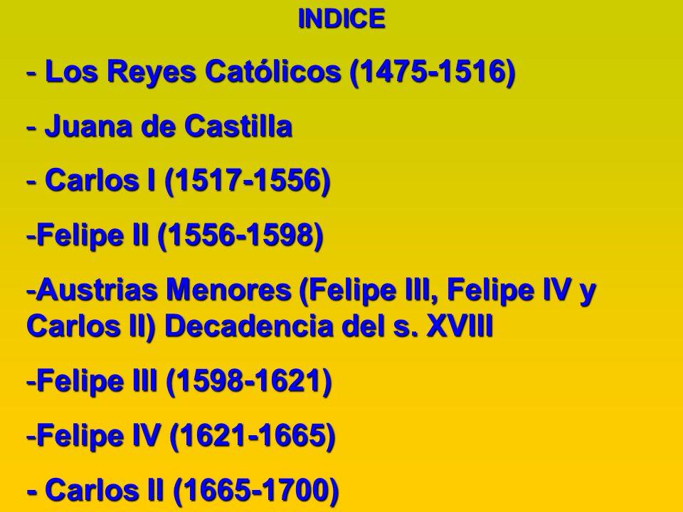 INDICE - Los Reyes Católicos (1475-1516) - Juana de Castilla - Carlos I (1517-1556) -Felipe II (1556-1598) -Austrias Menores (Felipe III, Felipe IV y