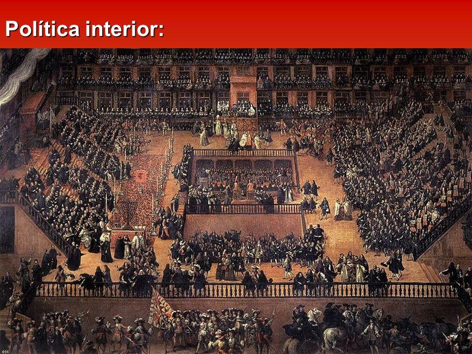 Política interior: Estado misional: Monarquía Hispana defensora del Catolicismo frente al Protestantismo. Tras el Concilio de Trento (1545-1563), se i