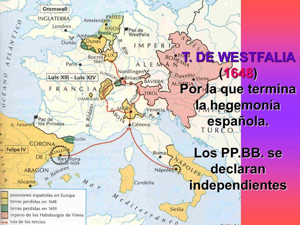 T. DE WESTFALIA (1648) Por la que termina la hegemonía española. Los PP.BB. se declaran independientes
