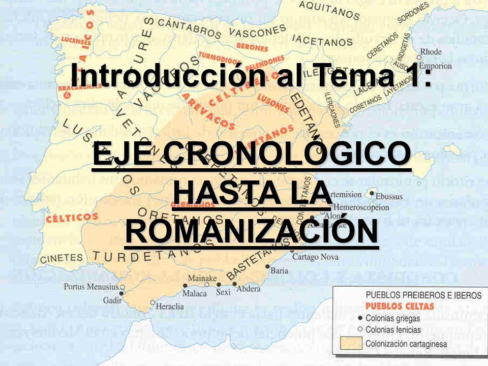 Introducción al Tema 1: EJE CRONOLÓGICO HASTA LA ROMANIZACIÓN EJE CRONOLÓGICO HASTA LA ROMANIZACIÓN