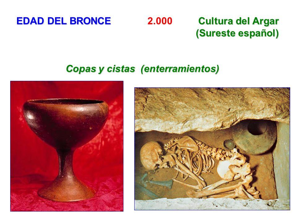 EDAD DEL BRONCECultura del Argar (Sureste español) EDAD DEL BRONCE 2.000 Cultura del Argar (Sureste español) Copas y cistas (enterramientos) Copas y c