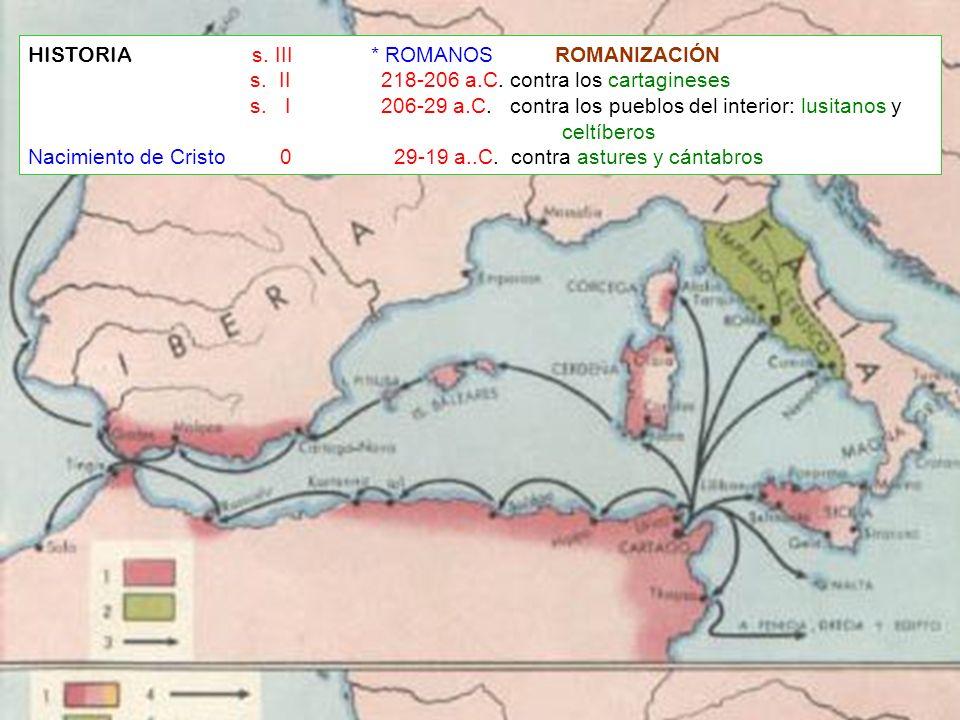 HISTORIA s. III * ROMANOS ROMANIZACIÓN s. II 218-206 a.C. contra los cartagineses s. I 206-29 a.C. contra los pueblos del interior: lusitanos y celtíb