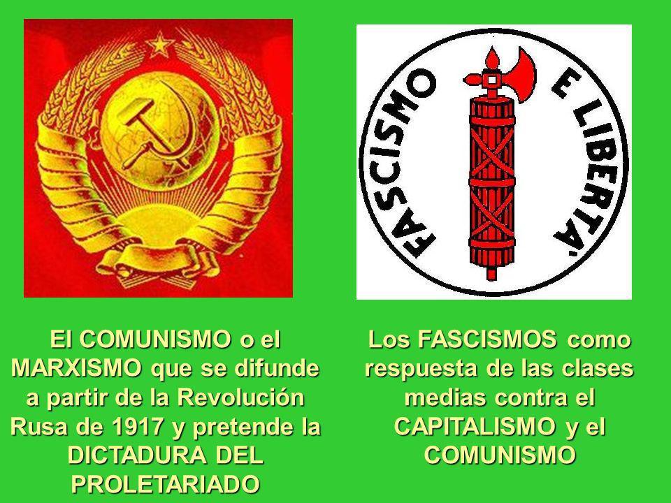 El COMUNISMO o el MARXISMO que se difunde a partir de la Revolución Rusa de 1917 y pretende la DICTADURA DEL PROLETARIADO Los FASCISMOS como respuesta