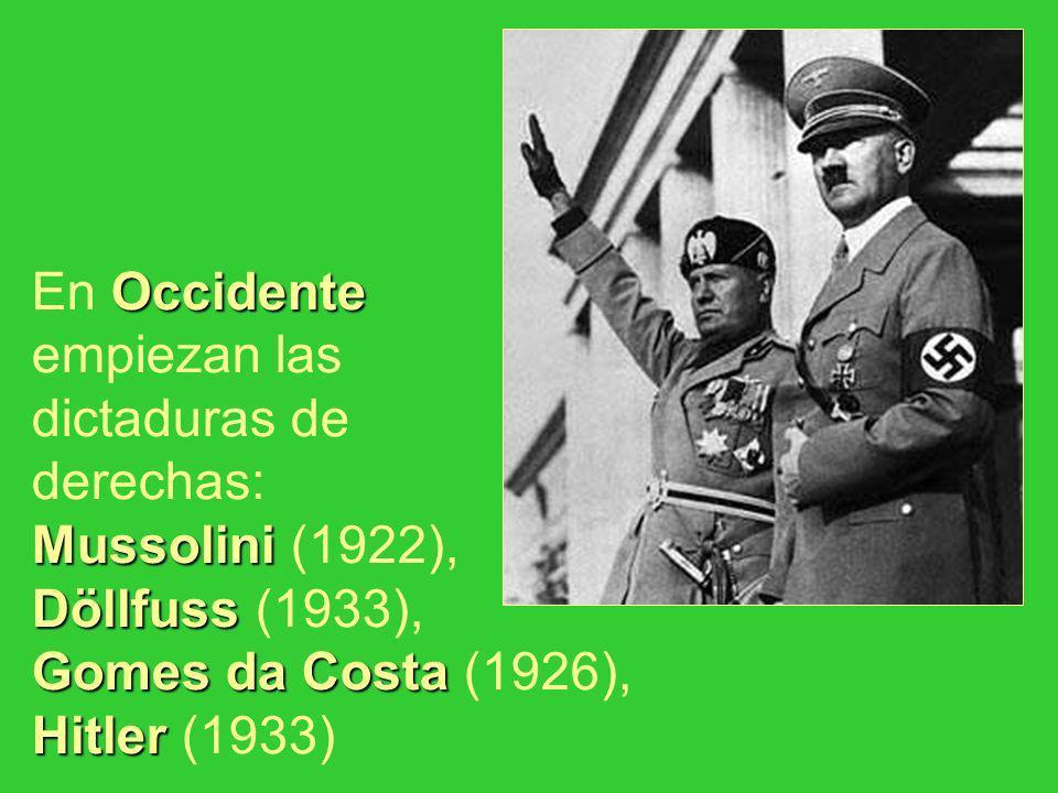 Occidente Mussolini Döllfuss Gomes da Costa Hitler En Occidente empiezan las dictaduras de derechas: Mussolini (1922), Döllfuss (1933), Gomes da Costa