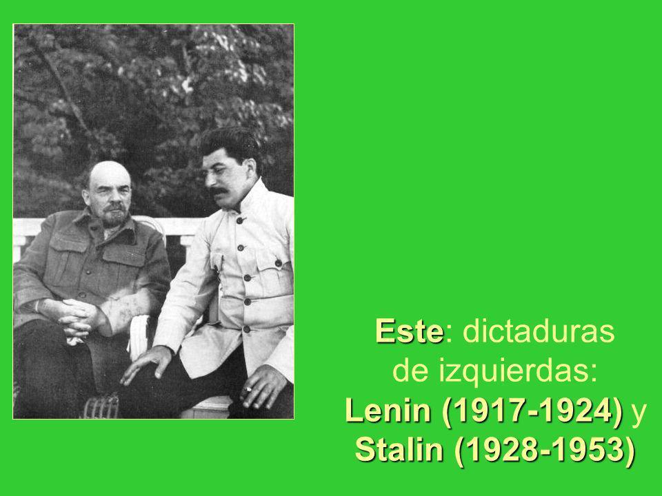 Este Lenin (1917-1924) Stalin (1928-1953) Este: dictaduras de izquierdas: Lenin (1917-1924) y Stalin (1928-1953)