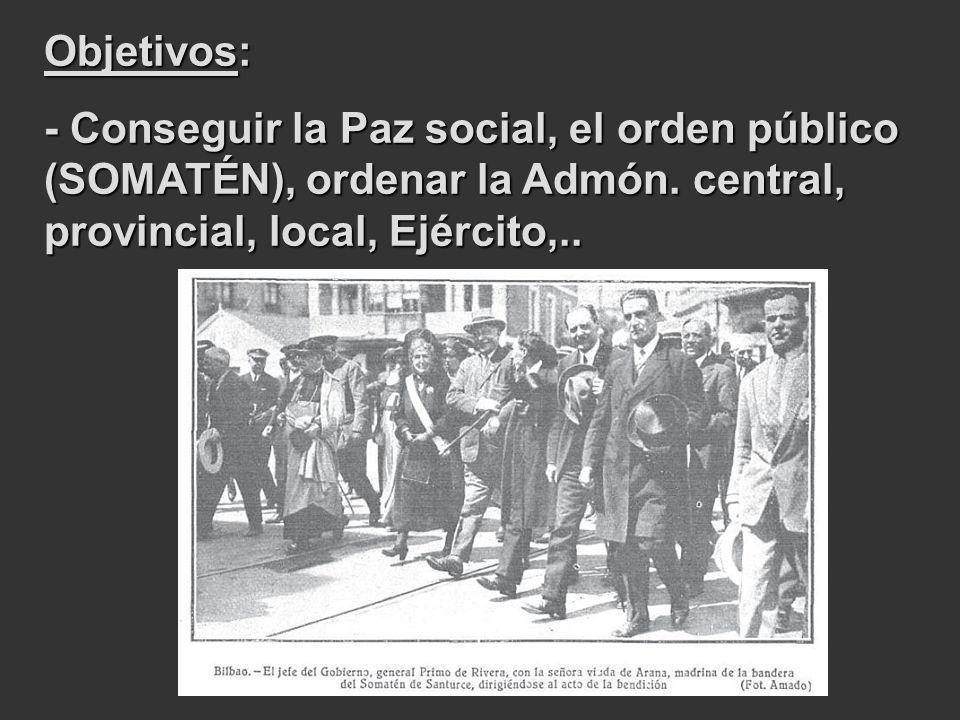 Objetivos: - Conseguir la Paz social, el orden público (SOMATÉN), ordenar la Admón. central, provincial, local, Ejército,..