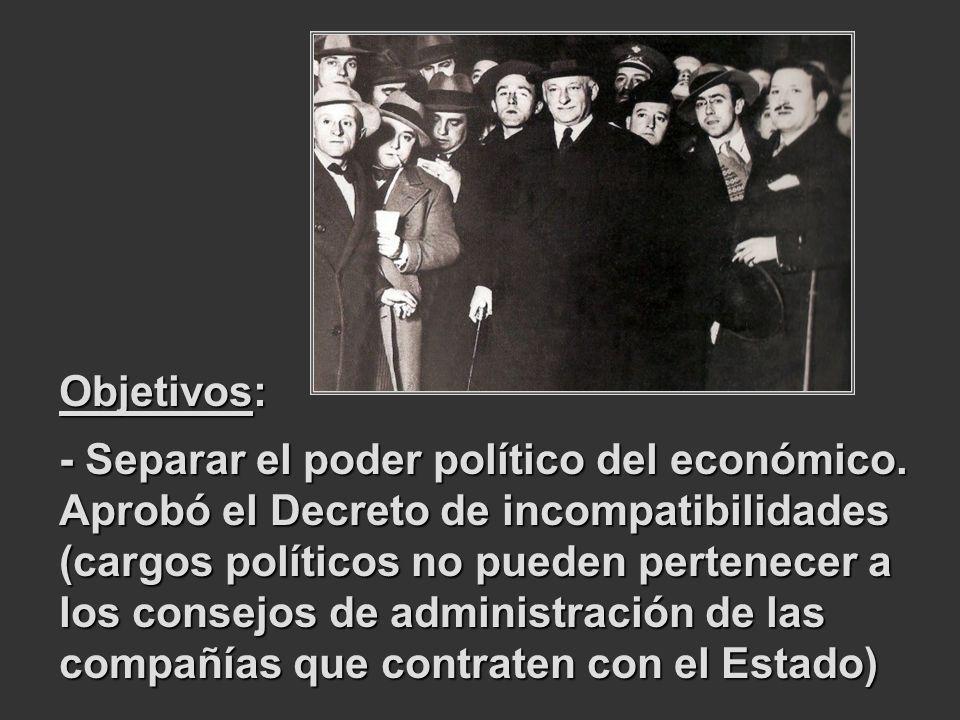 Objetivos: - Separar el poder político del económico. Aprobó el Decreto de incompatibilidades (cargos políticos no pueden pertenecer a los consejos de