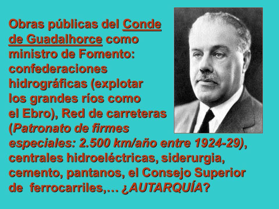 Obras públicas del Conde de Guadalhorce como ministro de Fomento: confederaciones hidrográficas (explotar los grandes ríos como el Ebro), Red de carre