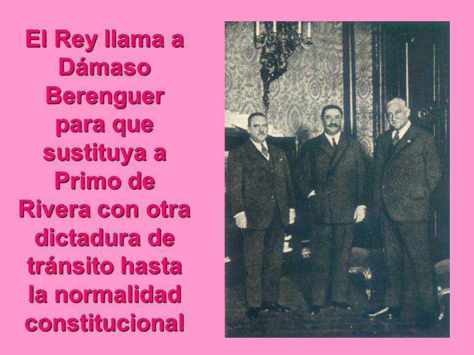 El Rey llama a Dámaso Berenguer para que sustituya a Primo de Rivera con otra dictadura de tránsito hasta la normalidad constitucional