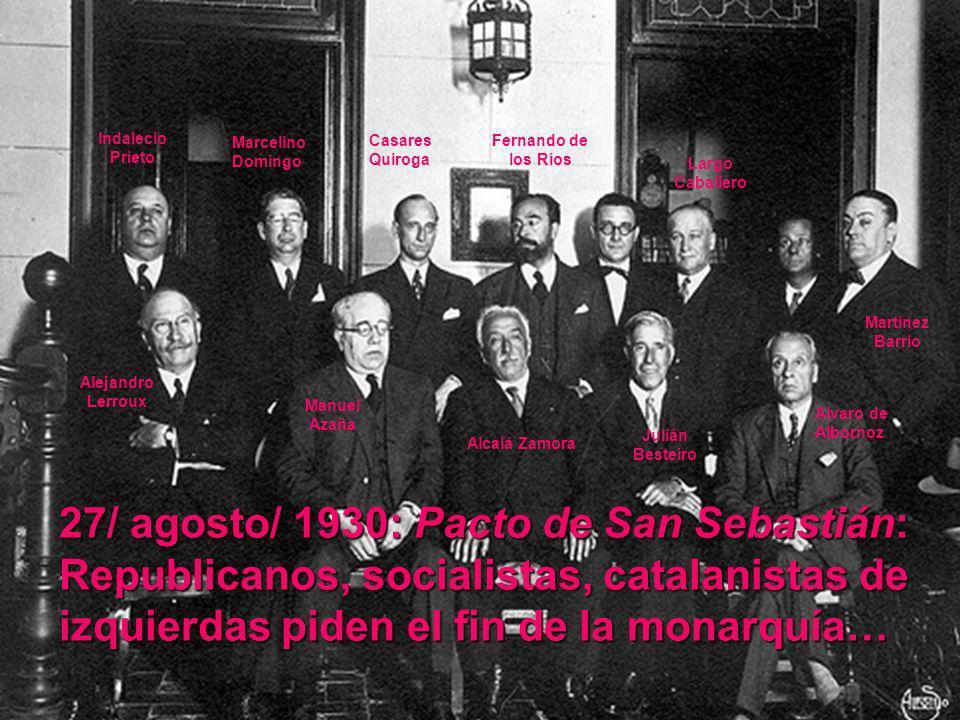 27/ agosto/ 1930: Pacto de San Sebastián: Republicanos, socialistas, catalanistas de izquierdas piden el fin de la monarquía… Marcelino Domingo Casare