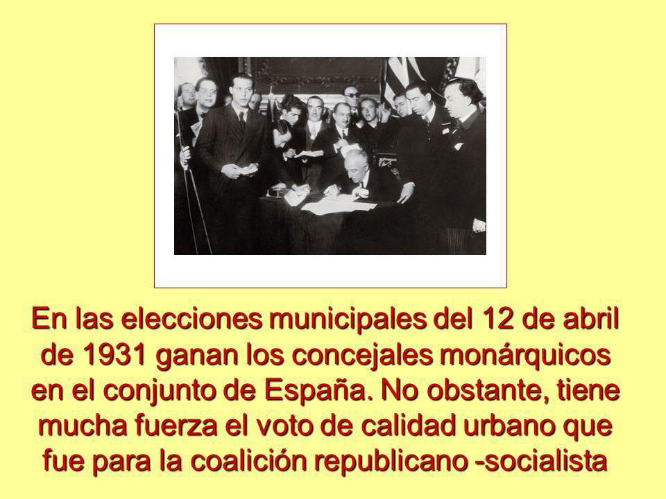 En las elecciones municipales del 12 de abril de 1931 ganan los concejales monárquicos en el conjunto de España. No obstante, tiene mucha fuerza el vo