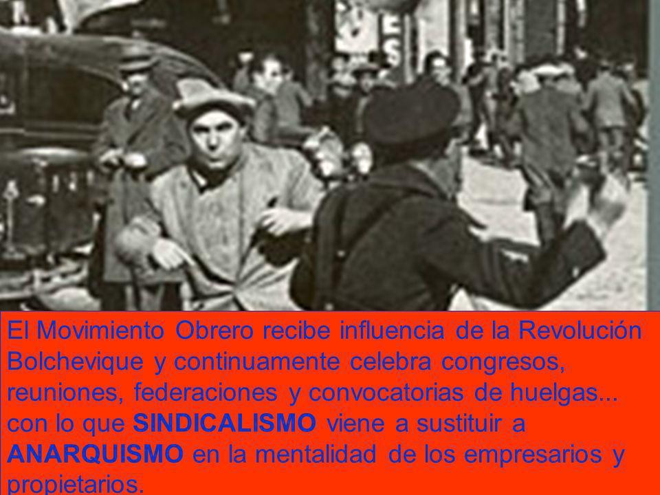 El Movimiento Obrero recibe influencia de la Revolución Bolchevique y continuamente celebra congresos, reuniones, federaciones y convocatorias de huel