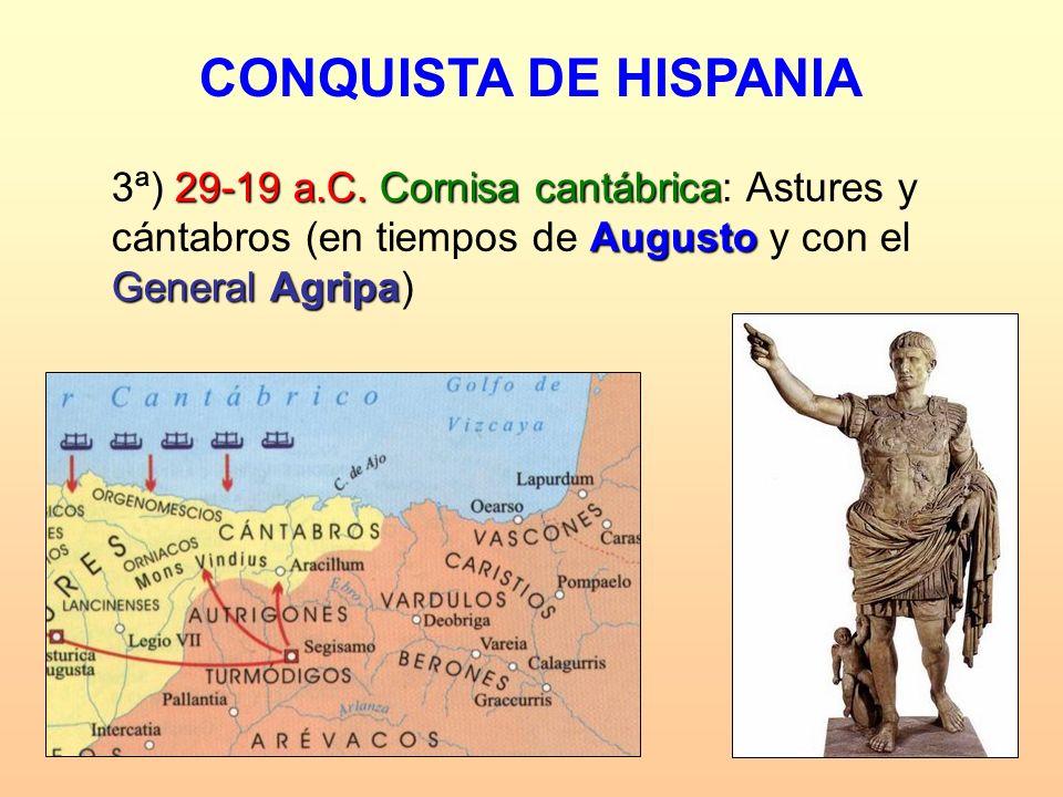 29-19 a.C.Cornisa cantábrica Augusto General Agripa 3ª) 29-19 a.C. Cornisa cantábrica: Astures y cántabros (en tiempos de Augusto y con el General Agr