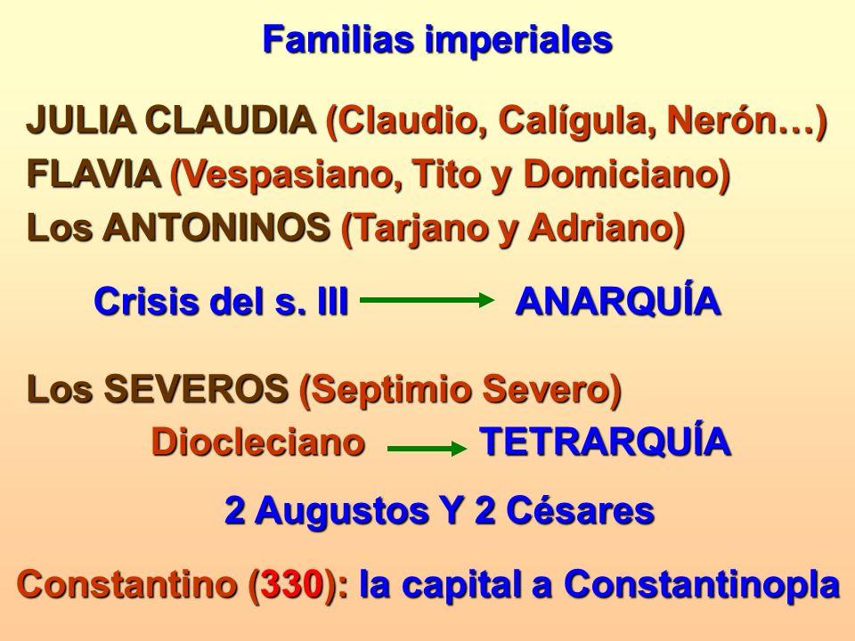 Familias imperiales JULIA CLAUDIA (Claudio, Calígula, Nerón…) FLAVIA (Vespasiano, Tito y Domiciano) Los ANTONINOS (Tarjano y Adriano) Crisis del s. II