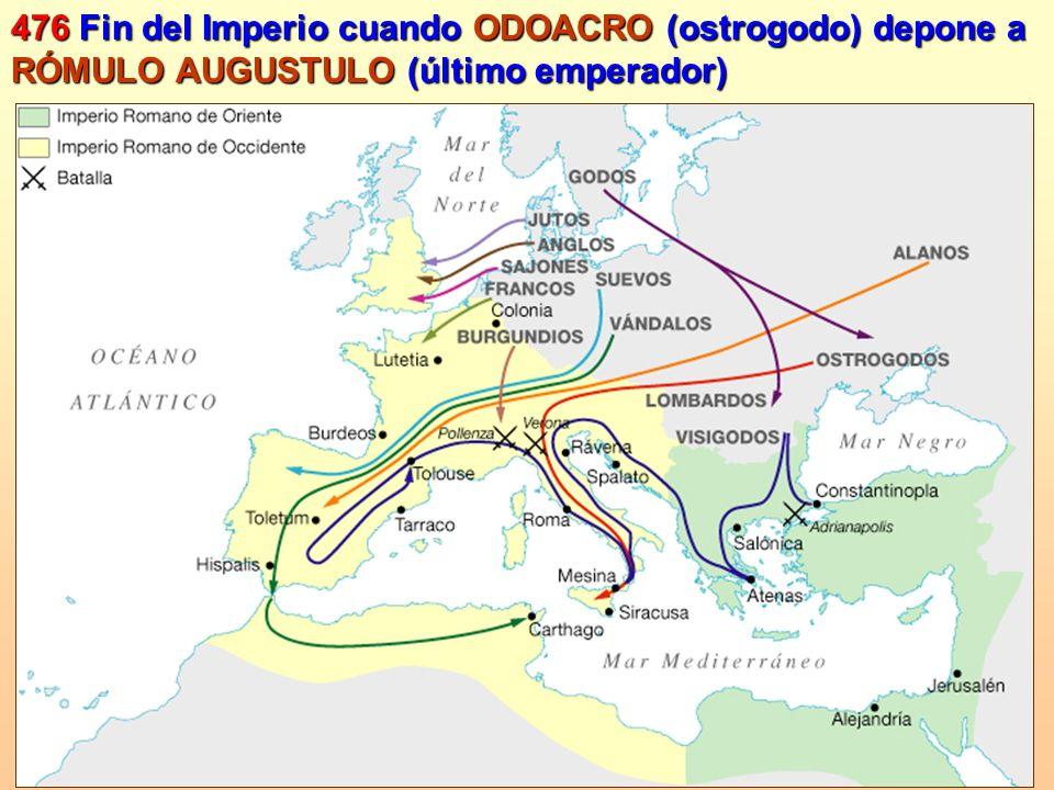 476 Fin del Imperio cuando ODOACRO (ostrogodo) depone a RÓMULO AUGUSTULO (último emperador)