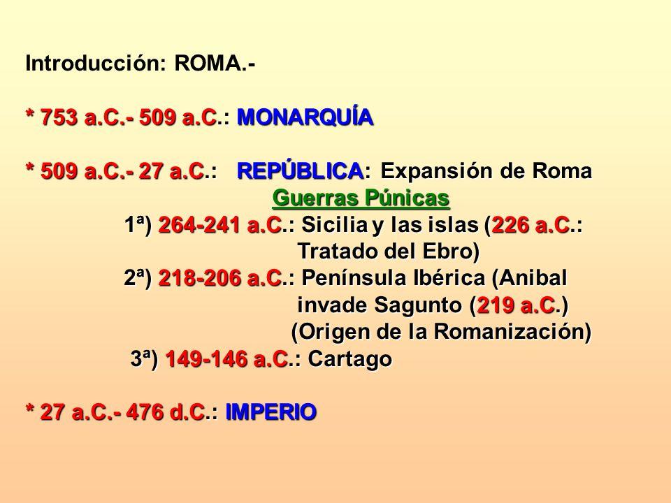 Introducción: ROMA.- * 753 a.C.- 509 a.C.: MONARQUÍA * 509 a.C.- 27 a.C.: REPÚBLICA: Expansión de Roma Guerras Púnicas Guerras Púnicas 1ª) 264-241 a.C