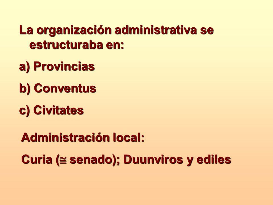 La organización administrativa se estructuraba en: a) Provincias b) Conventus c) Civitates Administración local: Curia ( senado); Duunviros y ediles