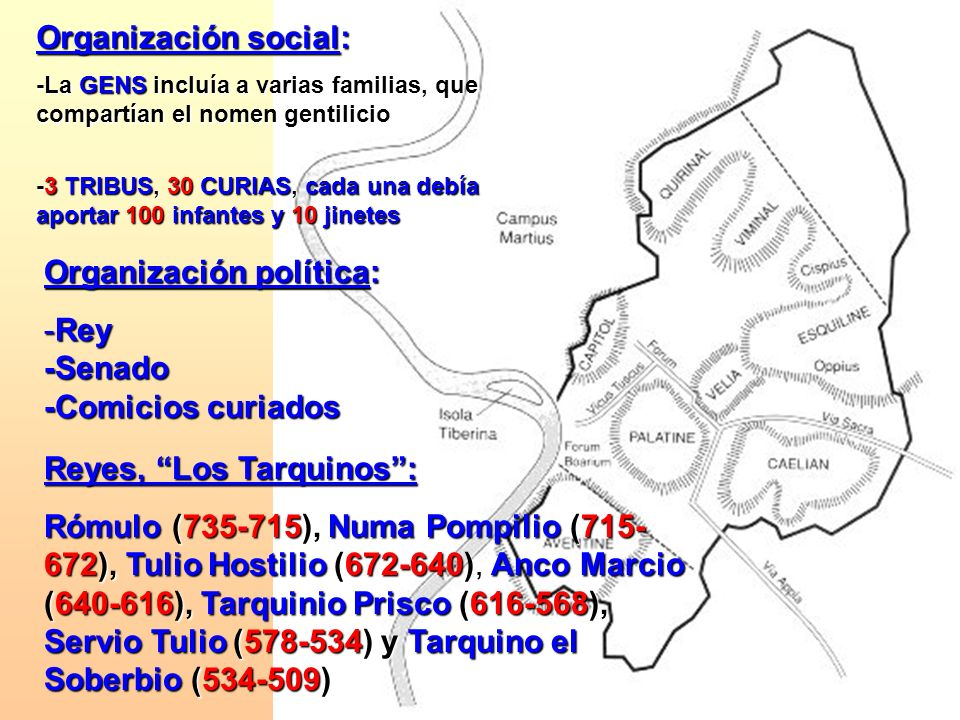 Organización social: -La GENS incluía a varias familias, que compartían el nomen gentilicio -3 TRIBUS, 30 CURIAS, cada una debía aportar 100 infantes
