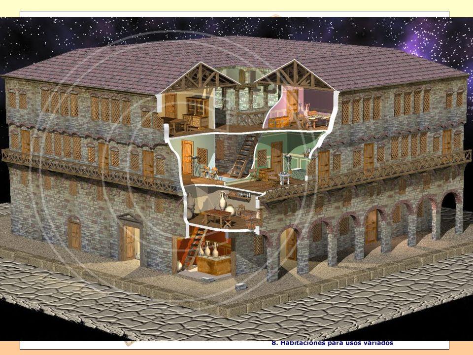 Casa: Adinerada en torno al atrio * Adinerada en torno al atrio: tablinium, triclinium, cubiculae, peristilum, tabernae,... * Humilde * Humilde, de va