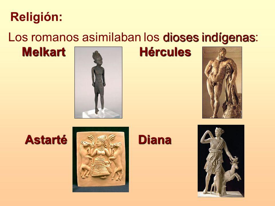Religión: dioses indígenas Los romanos asimilaban los dioses indígenas: Melkart Hércules Astarté Diana Astarté Diana